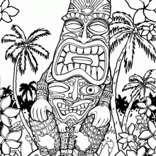 Freaky Tiki &#8211; 11&#215;14 inch Pen and Ink drawing on Bristol